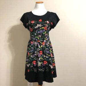 LC Lauren Conrad Black Floral Fit and Flare Dress